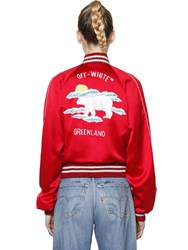 Off White Embroidered Silk Satin Bomber Jacket