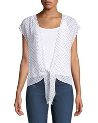 Bailey 44 Happy Together Dot Print Tie Front Top White