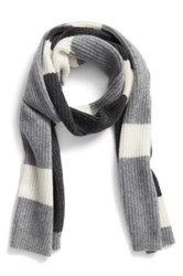 Halogen Colorblock Knit Cashmere Scarf Gray