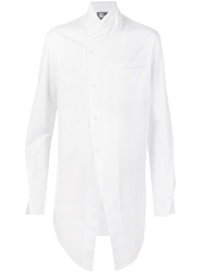 Lost And Found Stand Up Collar Long Shirt White