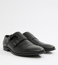Asos Design Wide Fit Monk Shoes In Black Faux Leather With Emboss Panel