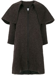 Gianluca Capannolo Oversized Collar Woven Coat Polyamide Mohair Virgin Wool Brown
