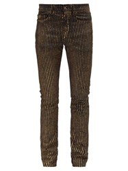 Saint Laurent Metallic Stripe Slim Leg Jeans Black Gold