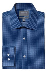 Men's Bonobos Slim Fit Wrinkle Free Dot Grid Dress Shirt Navy