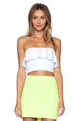 Susana Monaco Ruffle Tube Crop Top White