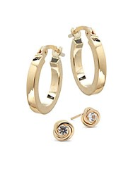 Candela White Topaz And 14K Yellow Gold Hoop And Knot Earrings