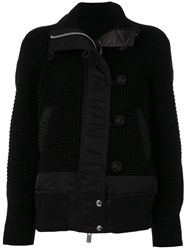 Sacai Knitted Jacket Cotton Nylon Polyester Wool Black