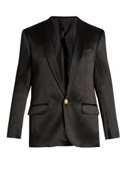 Balmain Single Breasted Silk Blazer Black