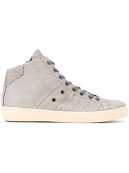 Leather Crown Snakeskin Effect Hi Top Sneakers Grey