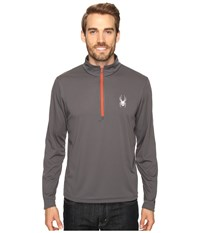 Spyder Silver Drip Dry W.E.B. T Neck Top Polar Rage Men's Long Sleeve Pullover Brown