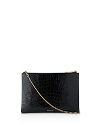 Whistles Rivington Shiny Croc Embossed Leather Clutch Black Gold
