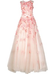 Christian Siriano Embroidered Ball Gown Pink Purple
