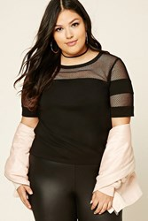 Forever 21 Plus Size Mesh Panel Top Black