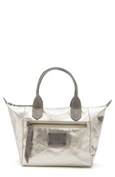 Frye Ivy Small Metallic Nylon Satchel Grey Pewter