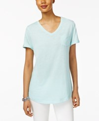 Style And Co V Neck Burnout Pocket T Shirt Only At Macy's Aqua Brook