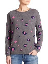 Chinti And Parker Leopard Wool And Cashmere Sweater Grey Marl Acid Pink
