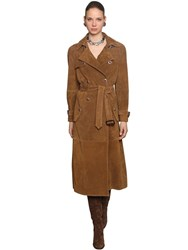 Etro Suede Trench Coat W Jeweled Buttons Brown