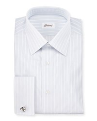 Brioni Satin Stripe French Cuff Dress Shirt White