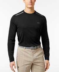 Greg Norman For Tasso Elba Men's Pieced Long Sleeve Performance Shirt Only At Macy's Deep Black