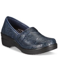 Easy Street Shoes Works By Lyndee Slip On Clogs Women's Navy Tool