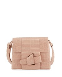 Nancy Gonzalez Tie Crocodile Crossbody Bag Nude