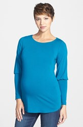 Women's Maternal America Drape Back Maternity Top Teal