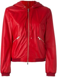 Armani Collezioni Hooded Leather Jacket Red