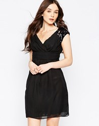 Jasmine Skater Dress With Embellished Shoulders Black