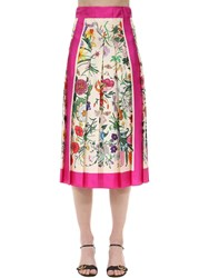 Gucci Pleated Floral Print Silk Twill Skirt Multicolor