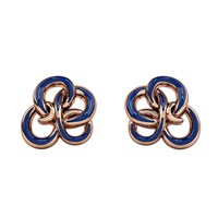 1986 Wiggle Wiggle Memory Knot Stud Royal Blue And Rose Blue Rose Gold