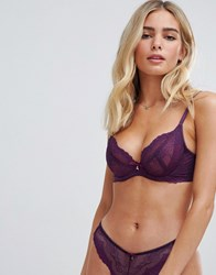 Gossard Superboost Lace Non Padded Plunge Bra Purple