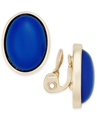 Charter Club Gold Tone Colored Stone Clip On Stud Earrings Only At Macy's Blue