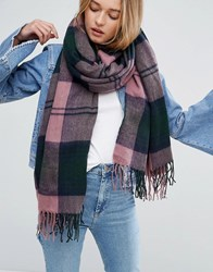 Asos Long Woven Scarf In Mauve Oversized Check With Tassels Pink
