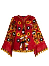 Vita Kin Kilim Embroidered Linen Blouse Red Multi