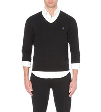 Polo Ralph Lauren Slim Fit Knitted Cotton Jumper Black