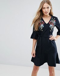 Warehouse Freida Embroidered Cotton Fluted Sleeve Dress Navy