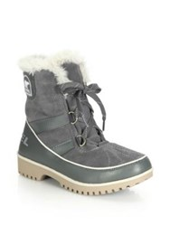Sorel Tivoli Ii Faux Fur Trimmed Suede And Leather Lace Up Boots Quarry Black Curry