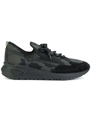 Diesel Lace Up Sneakers Cotton Leather Polyester Rubber Black