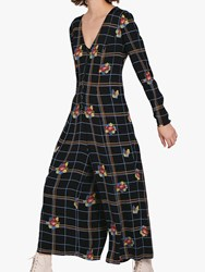 Ghost Bay Check And Floral Culotte Jumpsuit Black