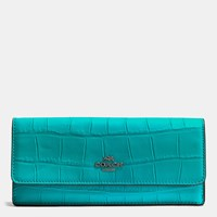 Coach Soft Wallet In Croc Embossed Leather Dark Gunmetal Turquoise