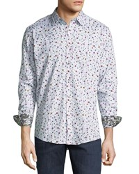 1 Like No Other Floral Sport Shirt White
