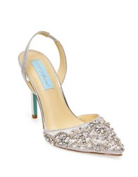 Betsey Johnson Blue By Embellished Pointed Sandals Silver Metallic