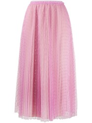 Red Valentino Tulle Point D'esprit Pleated Skirt 60