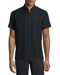 Billy Reid Tuscumbia Short Sleeve Jacquard Shirt Black Blue Black Blue