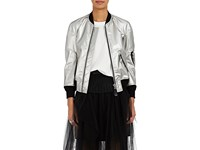 Comme Des Garcons Junya Watanabe Women's Faux Leather Crop Bomber Jacket Silver