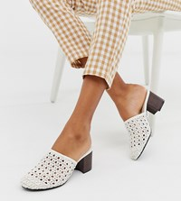 Monki Woven Mules With Wooden Heel In White