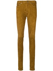 Saint Laurent Skinny Suede Trousers Nude And Neutrals