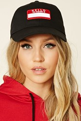 Forever 21 Hello My Handle Is Patch Cap Black