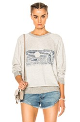 The Great Whale Graphic College Sweatshirt In Gray