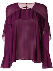 Talbot Runhof Frill Detail Top Pink And Purple